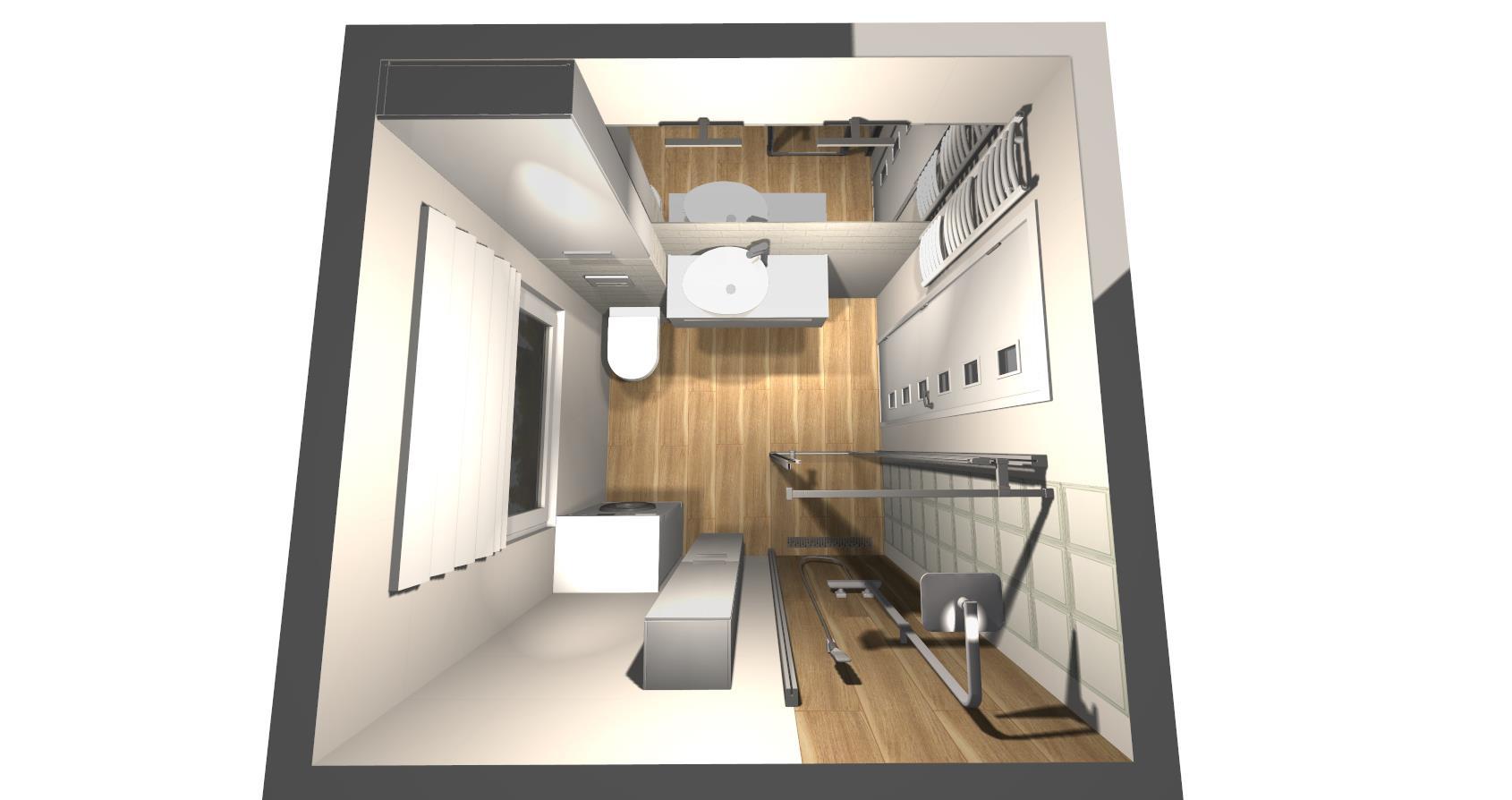Biała mała łazienka z oknem - nasz projekt oraz inspiracje